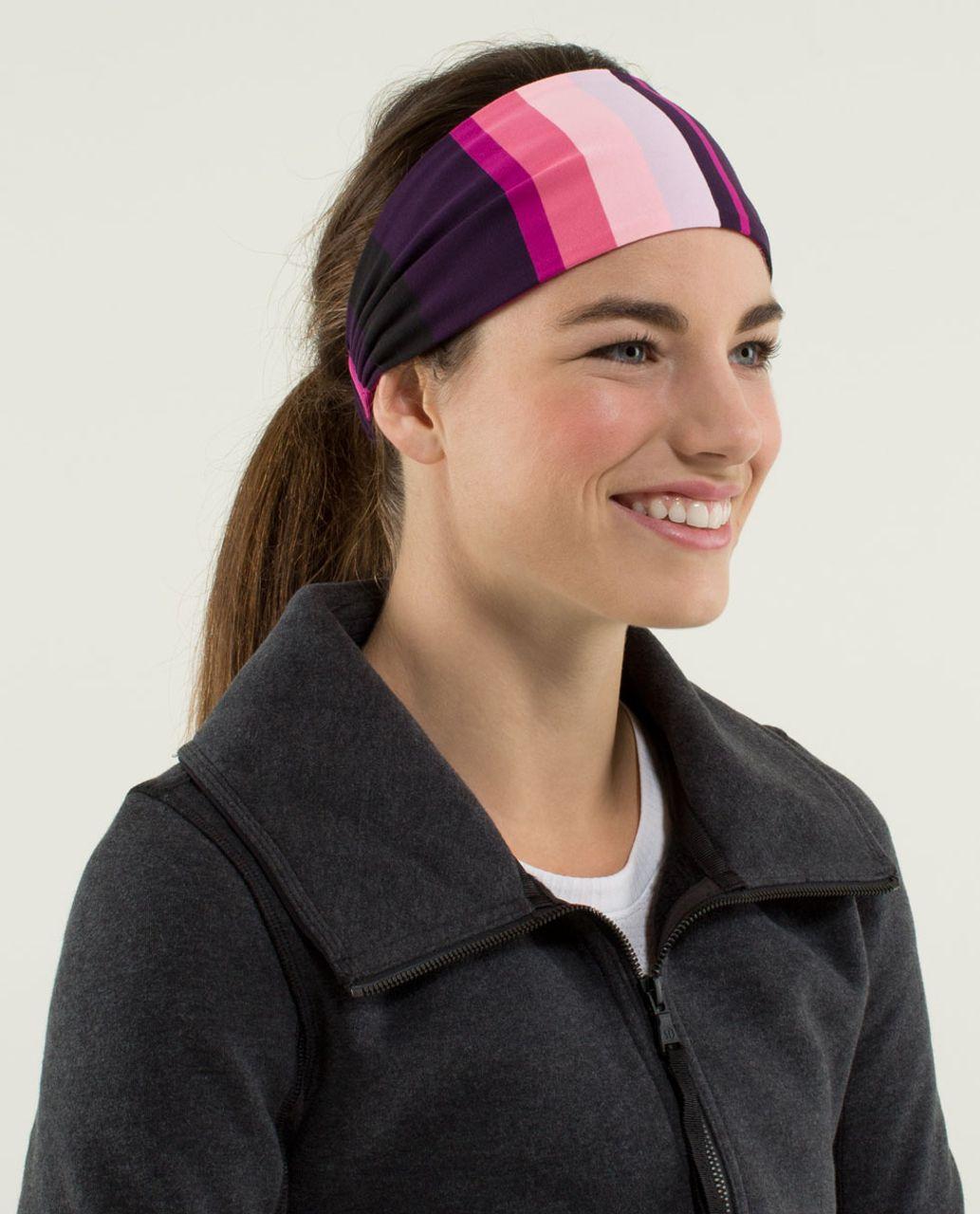 85914512d17 Lululemon Bang Buster Headband  Reversible - Assorted Stripe Bleached Coral  - lulu fanatics