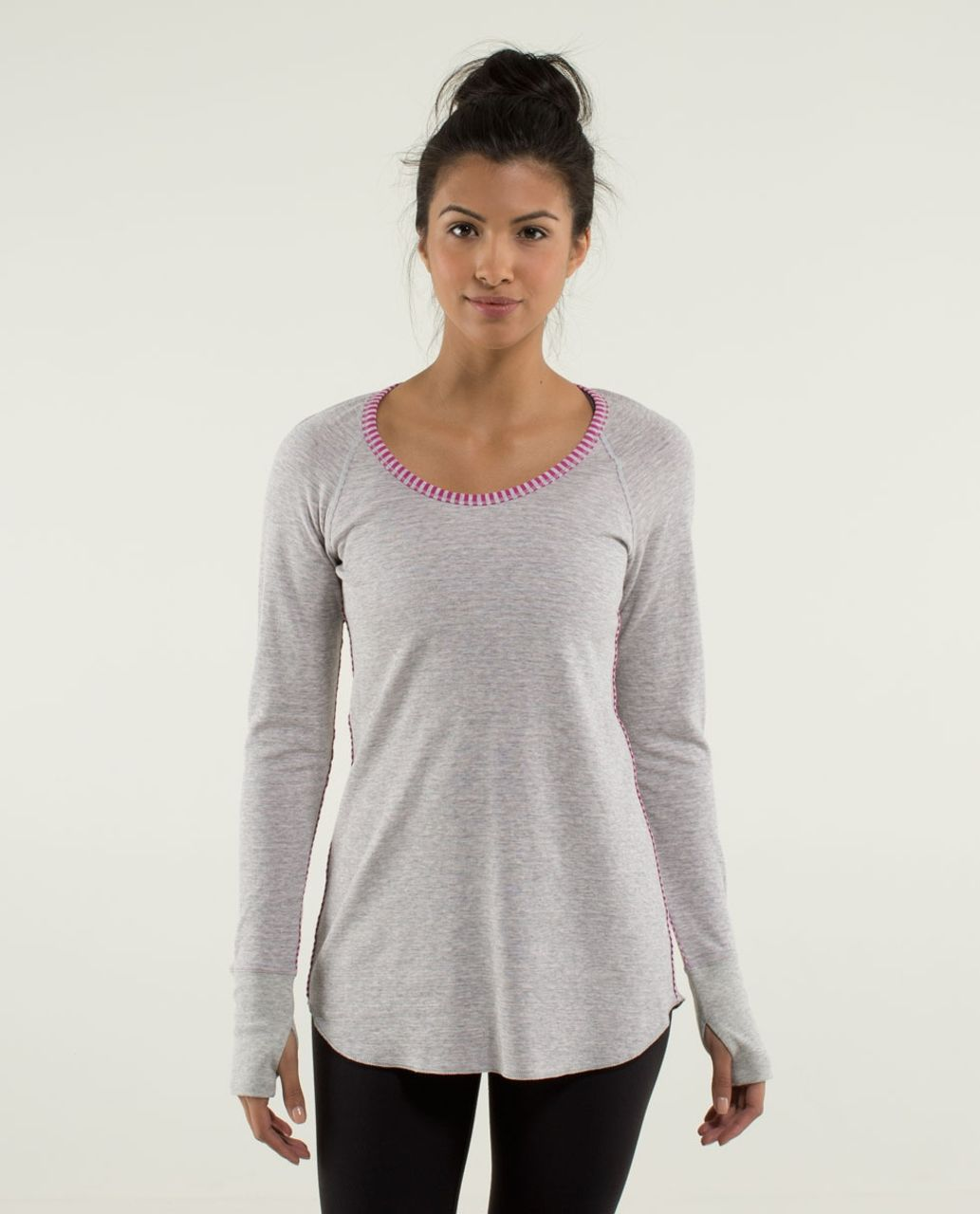 48adfac849 Lululemon Open Your Heart Long Sleeve - Heathered Light Grey / Classic  Stripe Heathered Light Grey Raspberry / Heathered Light Grey - lulu fanatics