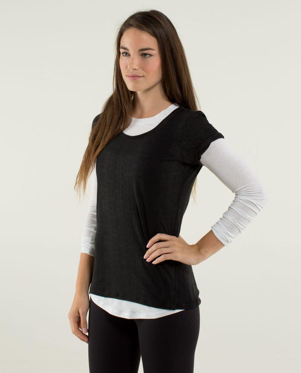 Lululemon Just Be Short Sleeve Tee - Misty Stripe Burnout Black