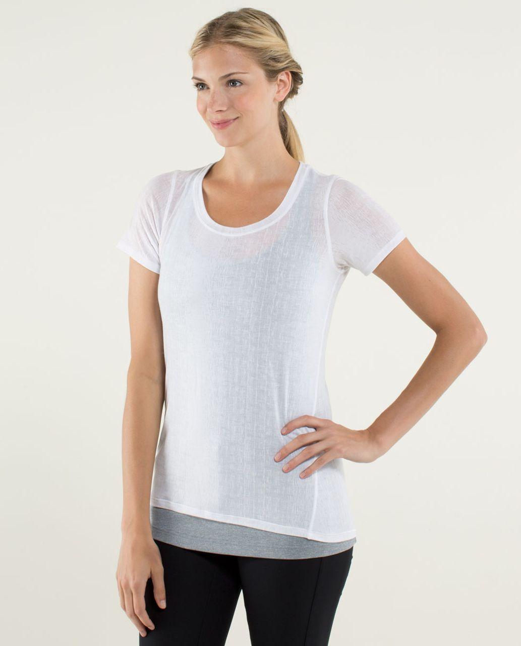 Lululemon Just Be Short Sleeve Tee - Misty Stripe Burnout White