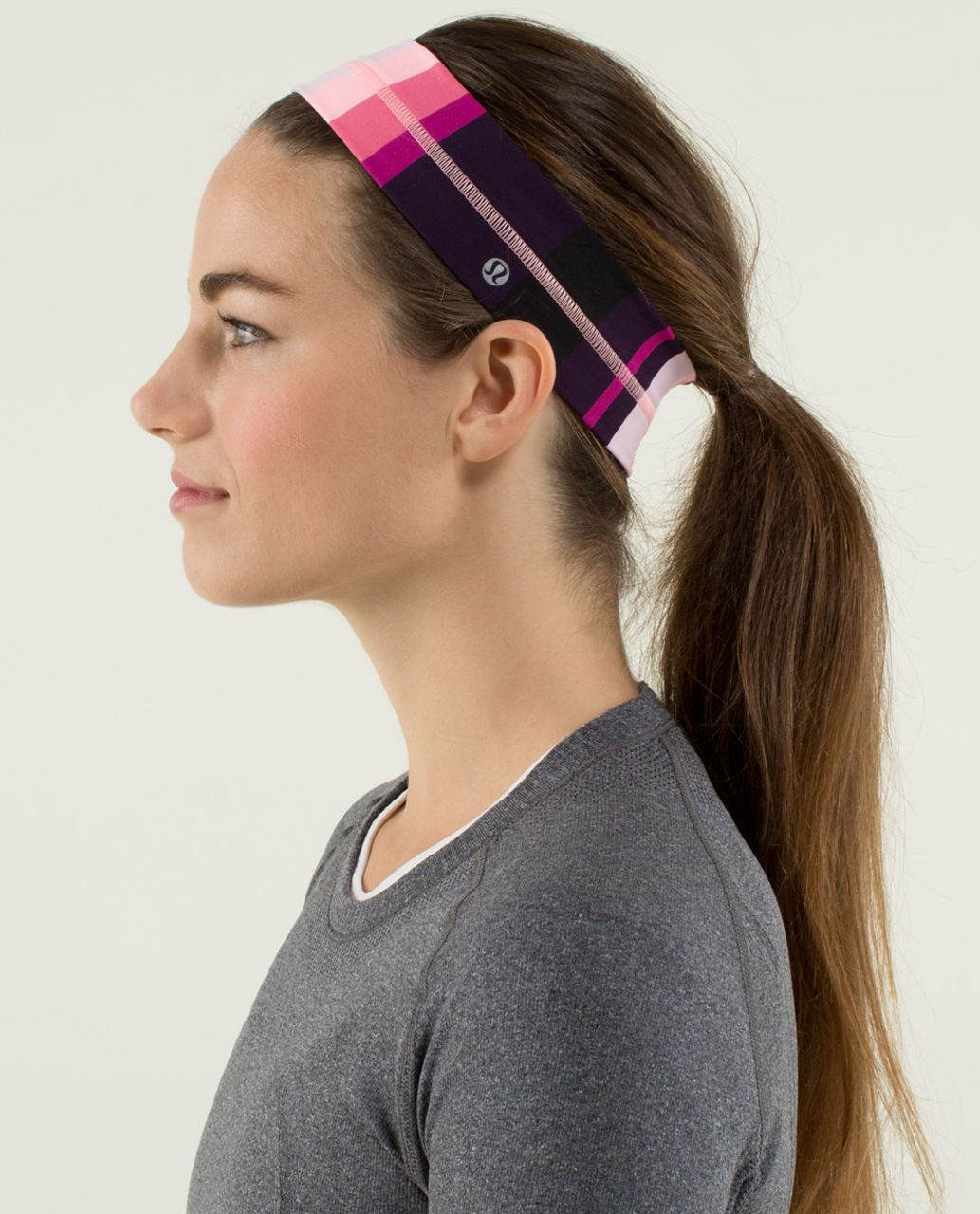 Lululemon Fly Away Tamer Headband - Assorted Stripe Bleached Coral