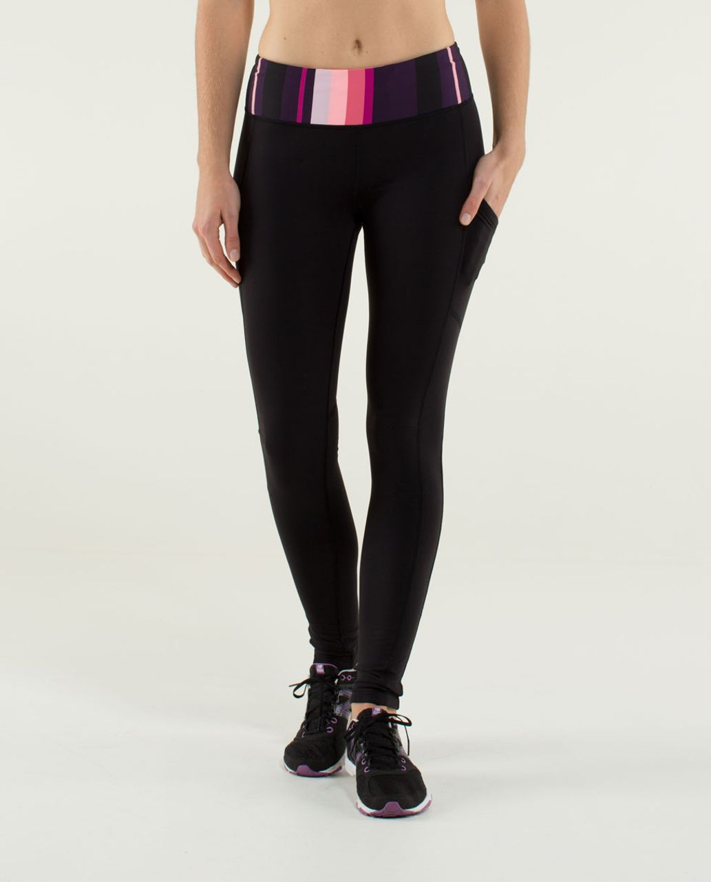 Lululemon Speed Tight *Tech - Black / Assorted Stripe Bleached Coral