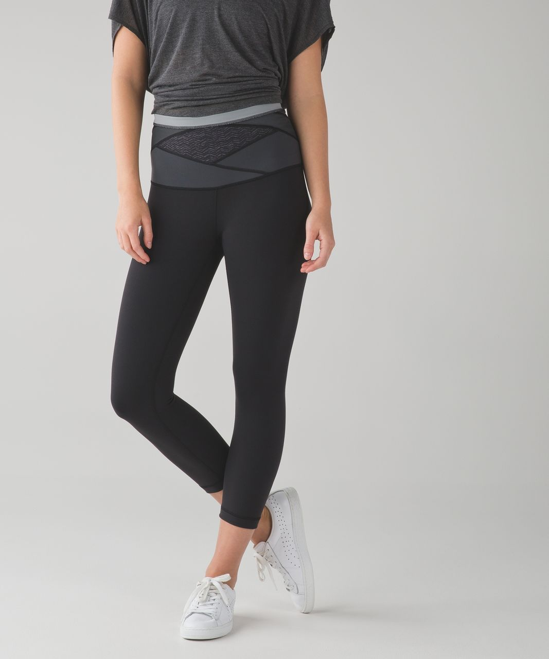 Lululemon Wunder Under Crop (Hi-Rise) *Full-On Luon - Black / Irregular Spacebone Deep Coal Black / Battleship