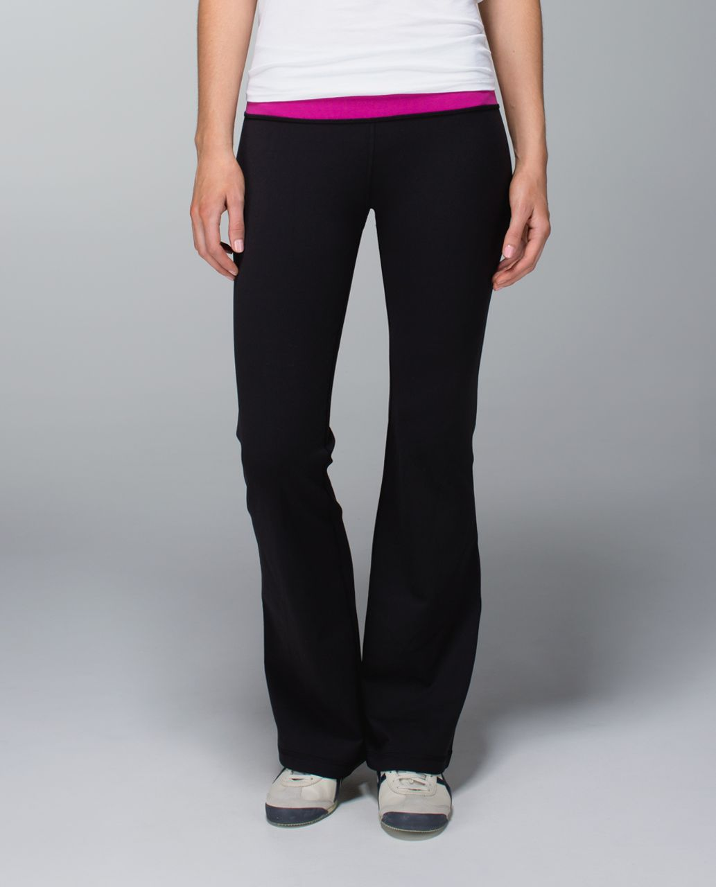 Lululemon Groove Pant (Regular) *Full-On Luon - Black /  White /  Raspberry