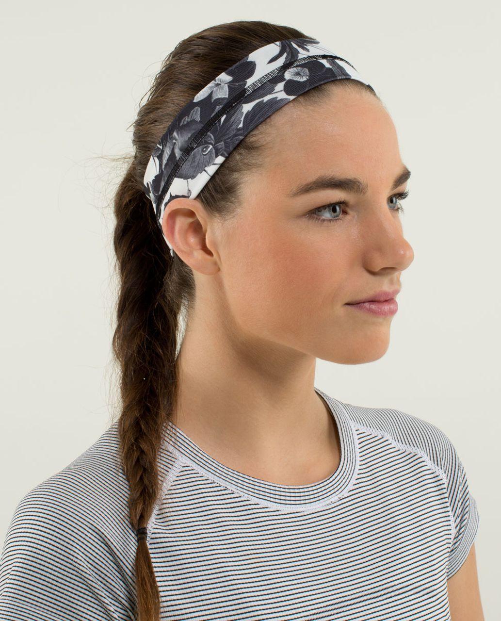 Lululemon Fly Away Tamer Headband - Brisk Bloom Black White