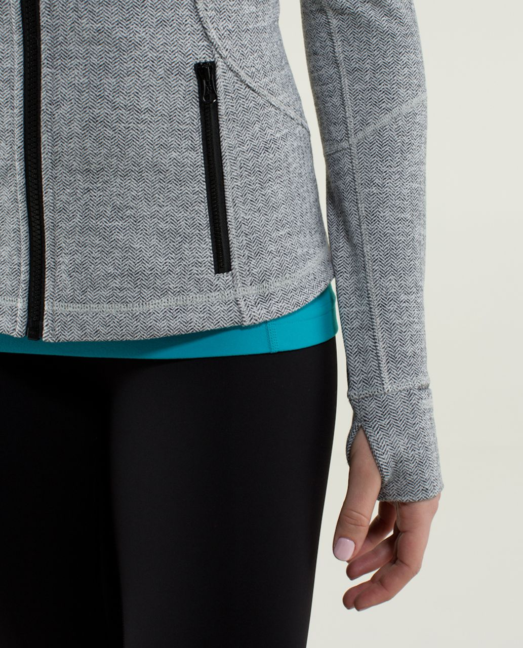 Lululemon Forme Jacket II *Textured - Heathered Herringbone Heathered Black White
