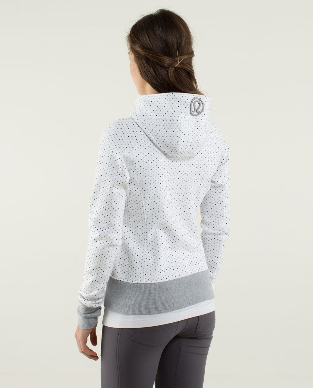Lululemon Scuba Hoodie *Stretch (Lined Hood) - Chevron Dot White / White / Wee Stripe White Heathered Medium Grey / White