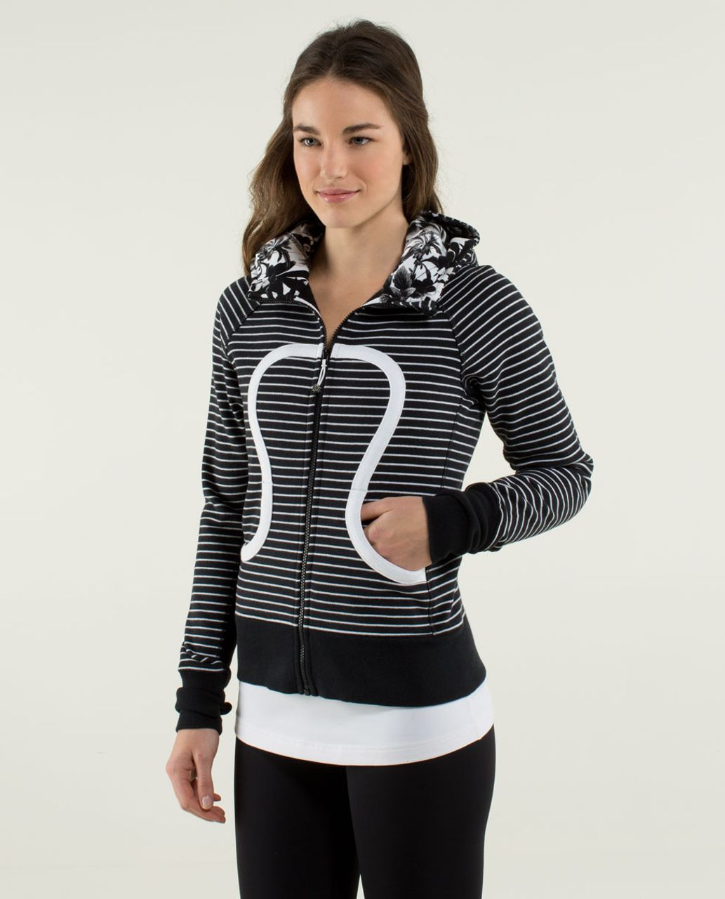 Lululemon Scuba Hoodie *Stretch (Lined Hood) - Parallel Stripe Black / White / Black / Brisk Bloom Black White / White / White
