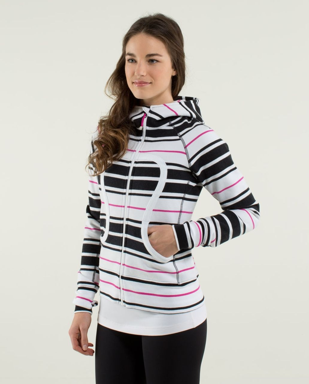 Lululemon Scuba Hoodie *Stretch (Lined Hood) - Traverse Stripe Paris Perfection / White / Traverse Stripe Paris Perfection / White