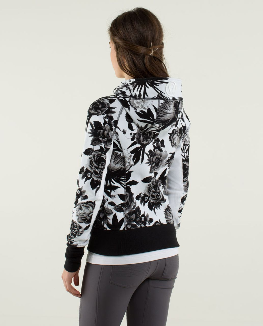 Lululemon Scuba Hoodie *Stretch (Lined Hood) - Brisk Bloom Black White / White / Black / White