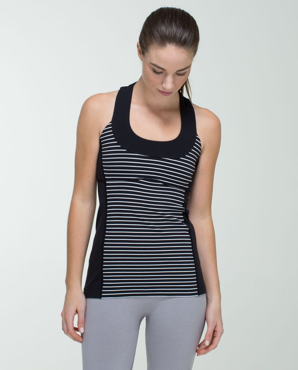 Lululemon Scoop Neck Tank *Luon - Parallel Stripe Black White / Black