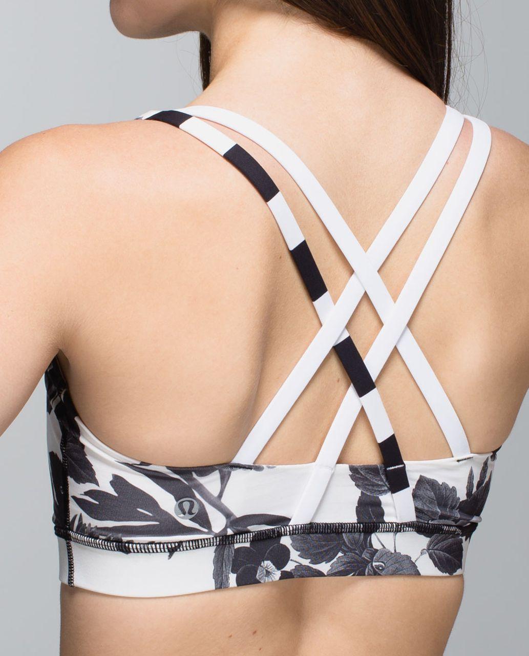 Lululemon Energy Bra - Brisk Bloom Black White / Straightup Stripe Black White / White