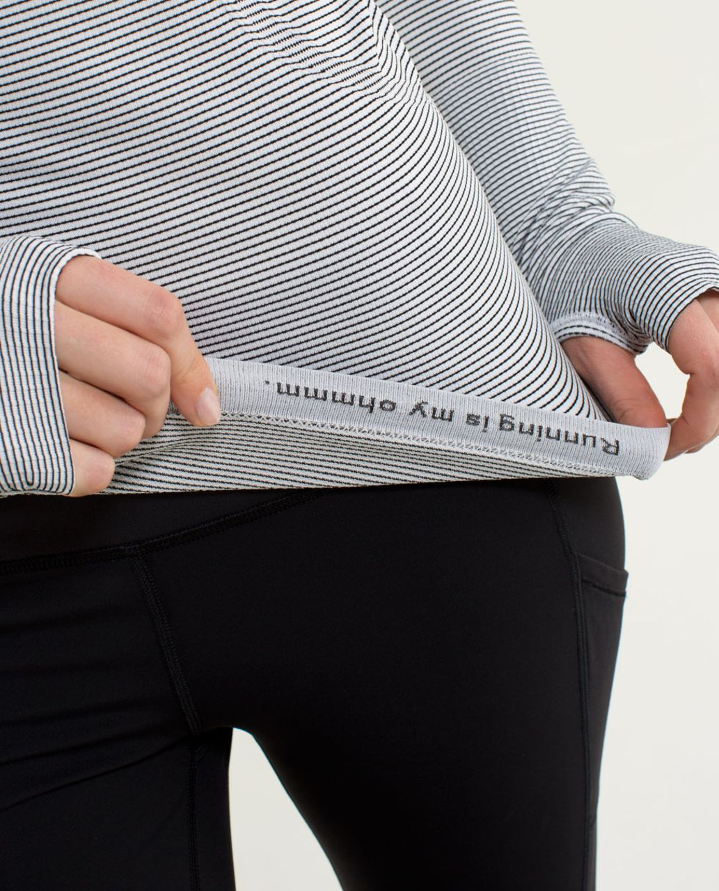 Lululemon Run:  Swiftly Tech Long Sleeve *Stripe - White