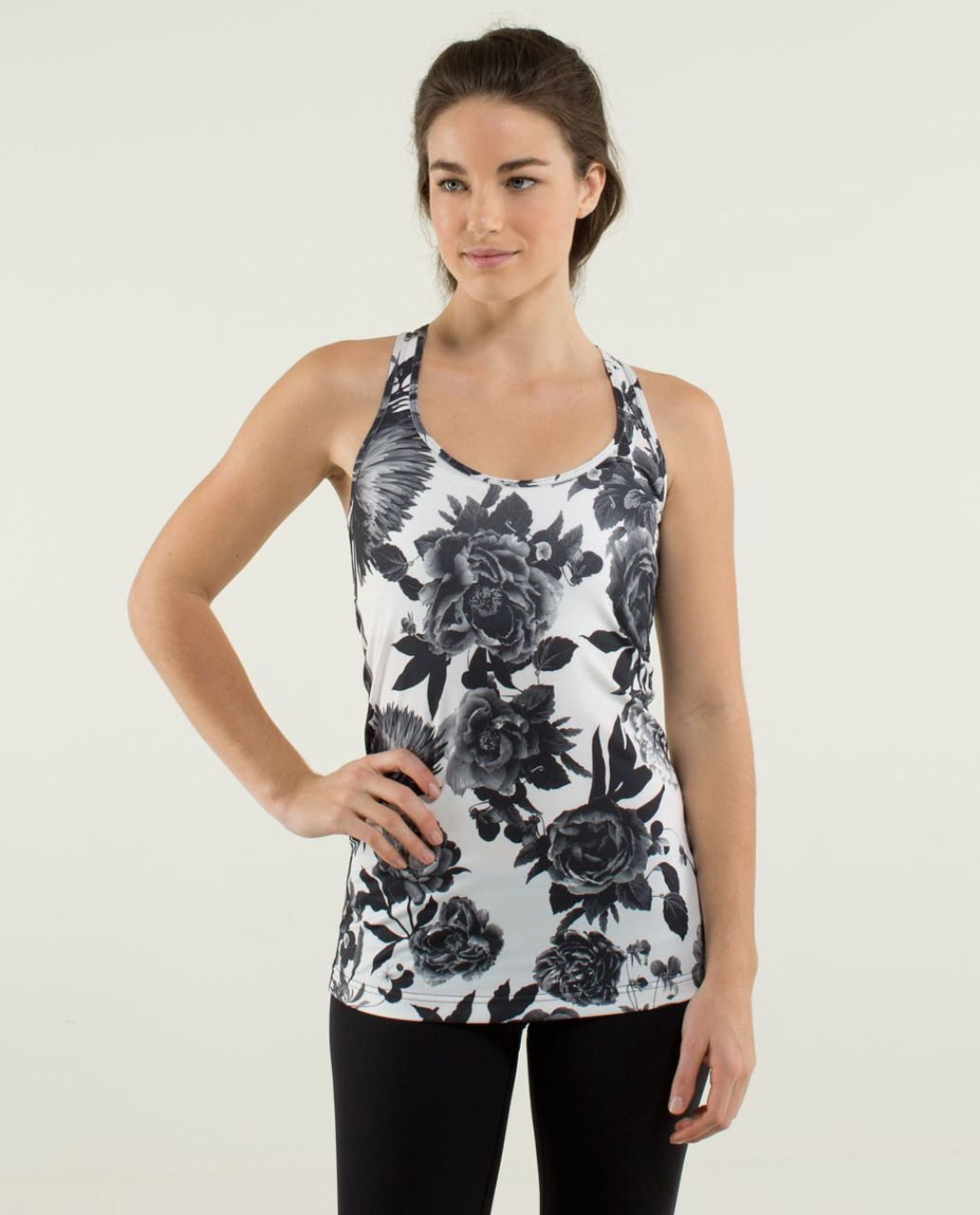 Lululemon Cool Racerback - Brisk Bloom Black White