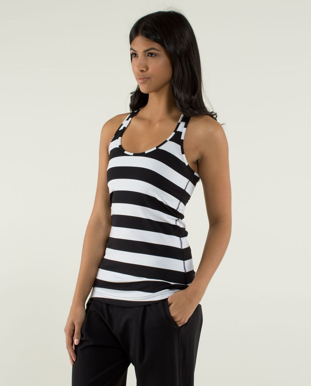 Lululemon Cool Racerback - Straightup Stripe Black White