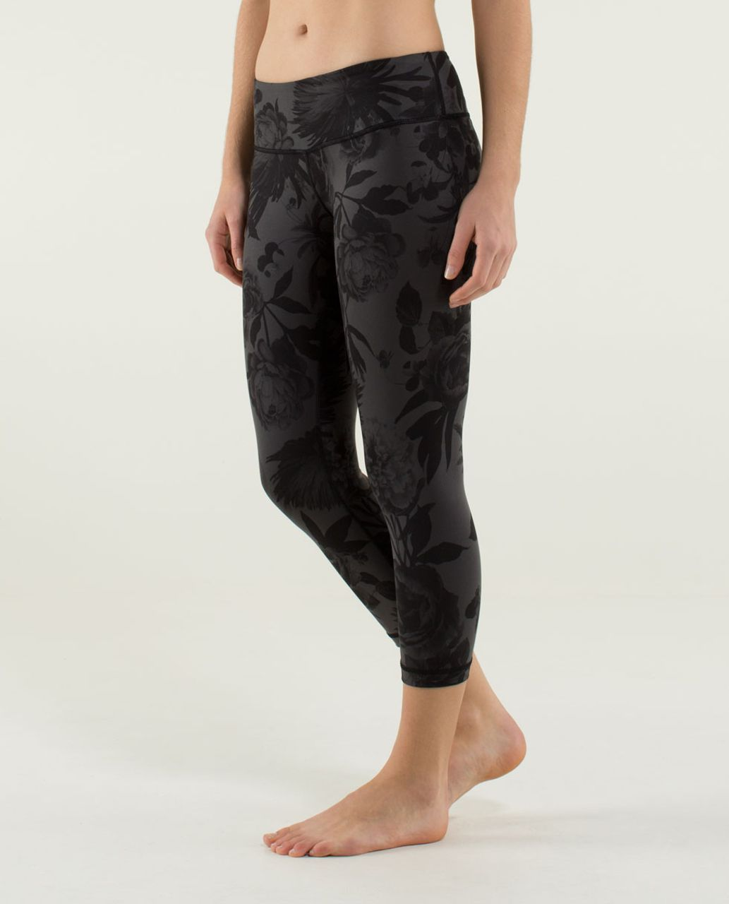 Lululemon Wunder Under Crop - Brisk Bloom Black Soot / Black