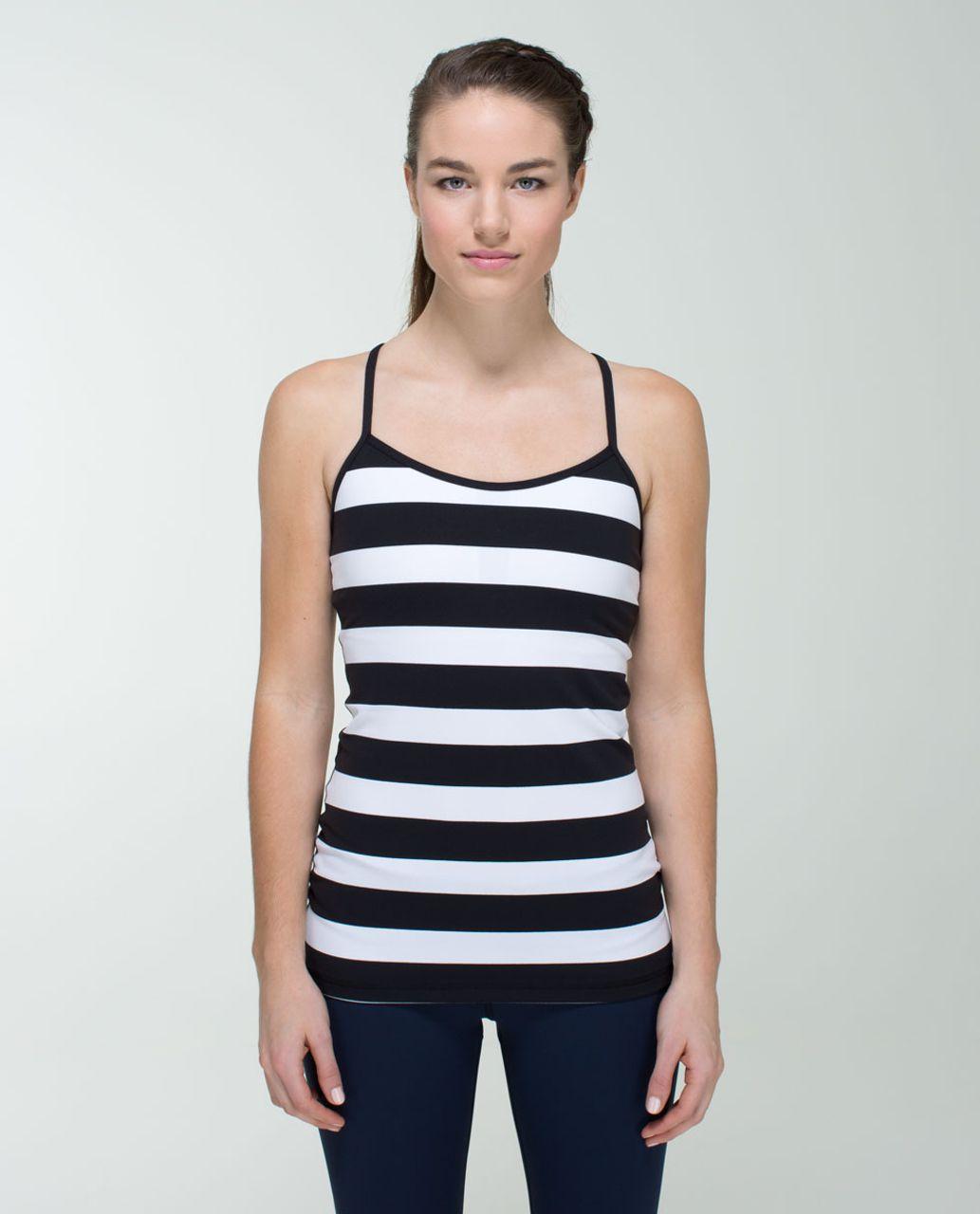 Lululemon Power Y Tank *Luon - Straightup Stripe Black White / Black