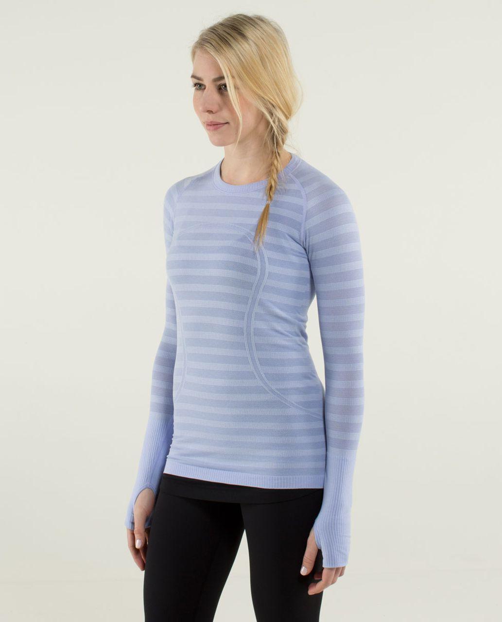 Lululemon Run:  Swiftly Tech Long Sleeve *Stripe - Heathered Lavender Dusk