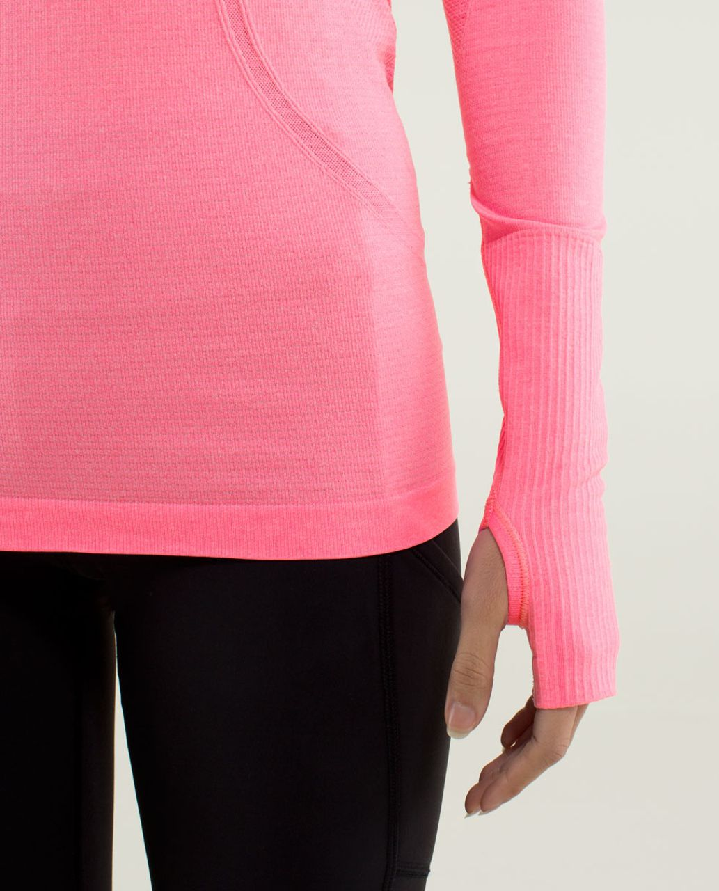 Lululemon Run:  Swiftly Tech Long Sleeve - Heathered Zing Pink Light