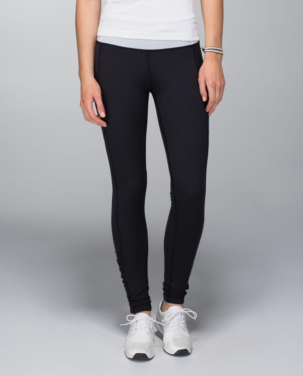 Lululemon Speed Tight *Brushed Interlock - Black / Wee Stripe White Ambient Grey