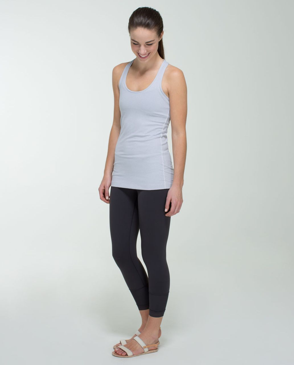 Lululemon Cool Racerback - Wee Stripe White Heathered Medium Grey