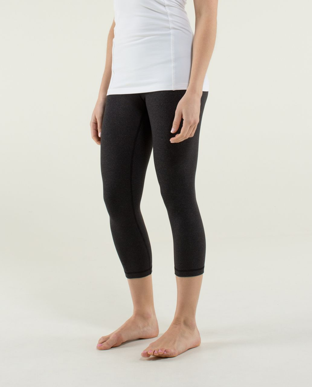 Lululemon Wunder Under Crop - Wee Stripe Black Heathered Black /  Black