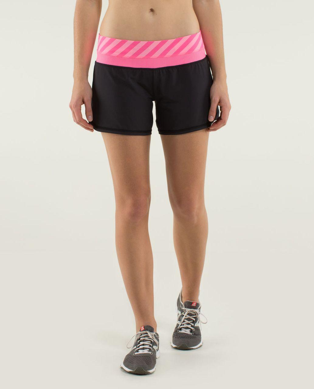 Lululemon Groovy Run Short *4-way Stretch - Black / Mini Hyper Stripe Zing Pink Light / Apex Stripe Zing Pink Light