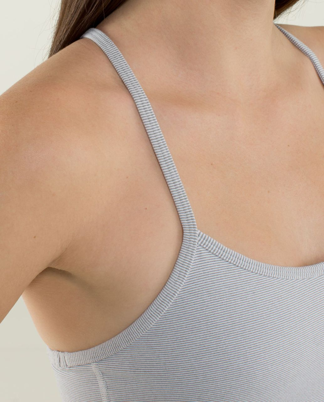 Lululemon Flow Y Bra IV - Wee Stripe White Heathered Medium Grey