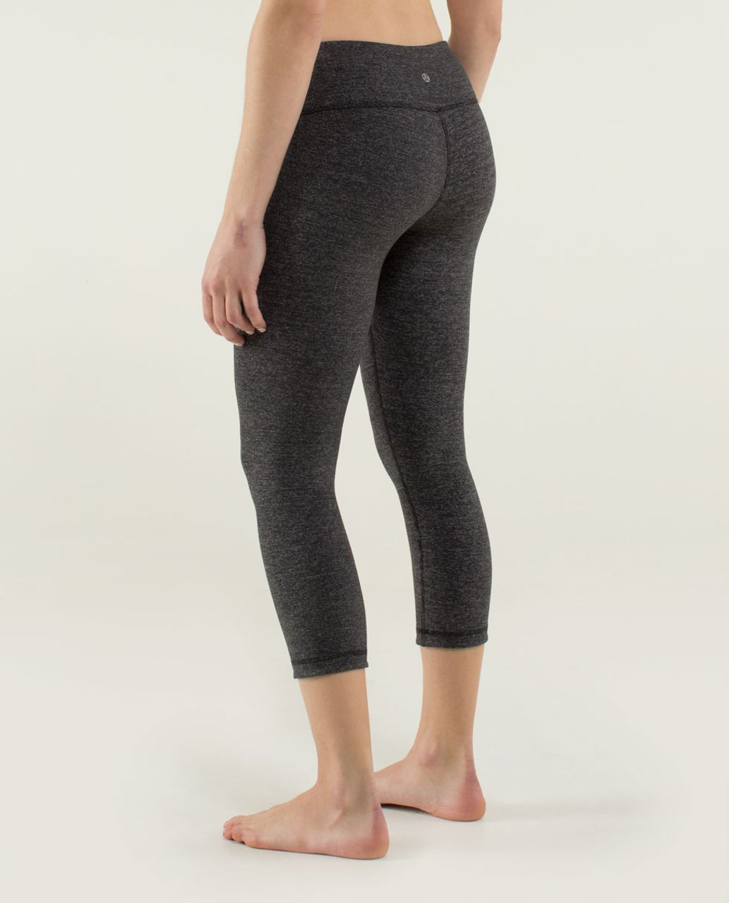 Lululemon Wunder Under Crop *Reversible - Wee Stripe Black Heathered Black /  Black