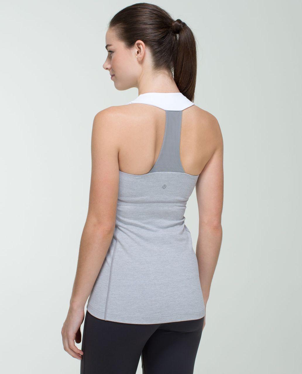 Lululemon Scoop Neck Tank *Luon - Heathered Medium Grey / White / Ambient Grey