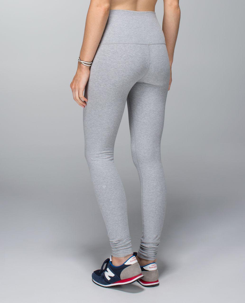 36e5c006201aa6 Lululemon Wunder Under Pant (Roll Down) *Cotton - Heathered Medium Grey -  lulu fanatics