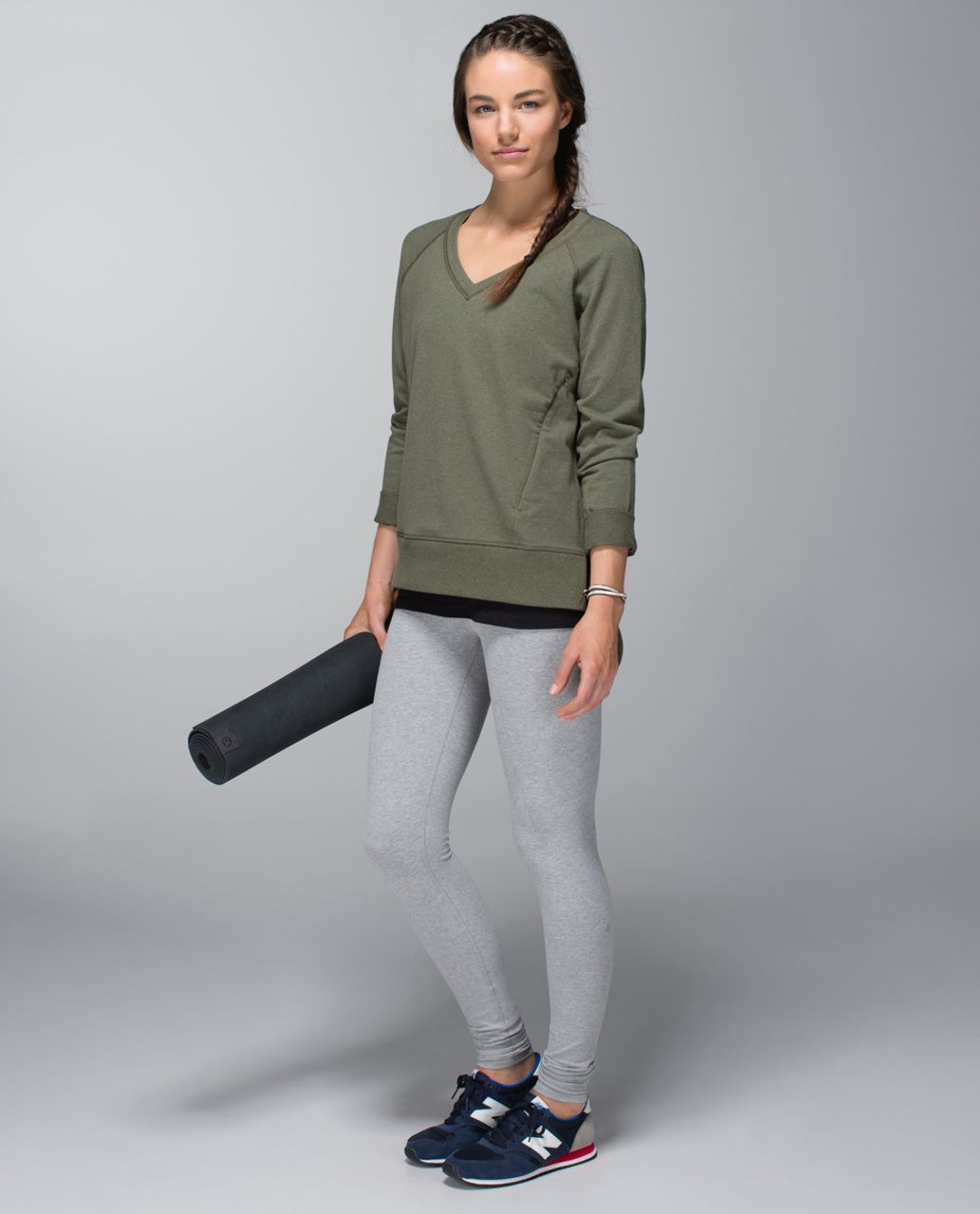 Lululemon Wunder Under Pant (Roll Down) *Cotton - Heathered Medium Grey