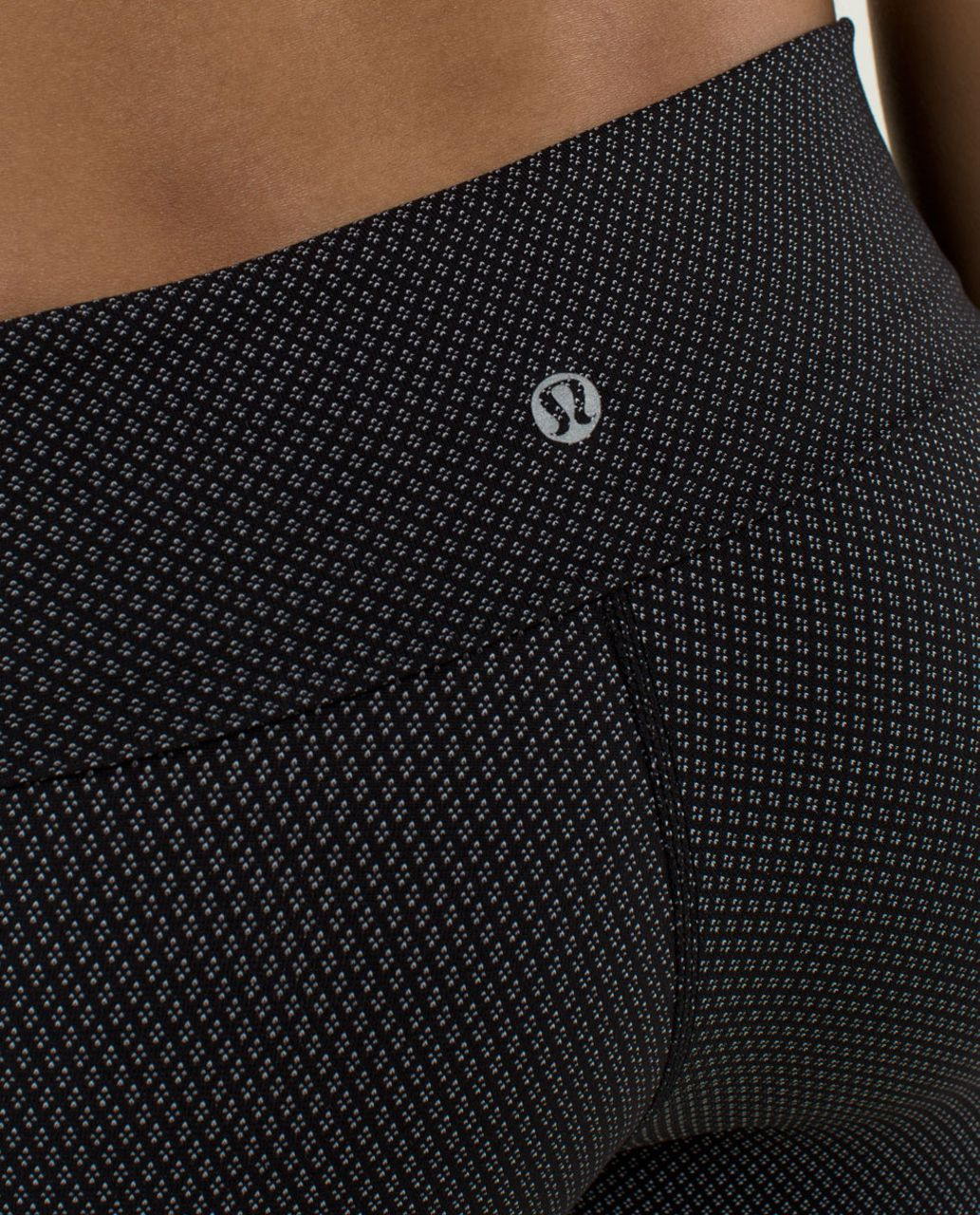 Lululemon Wunder Under Crop *Roll Down - Diamond Dot Black White