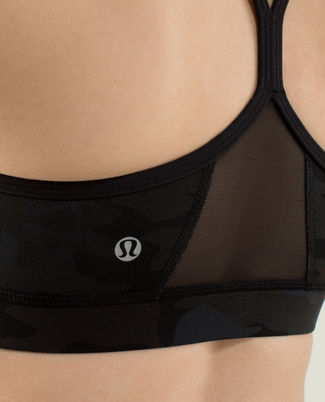 Lululemon Flow Y Bra IV - Savasana Camo 20cm New Black / Black