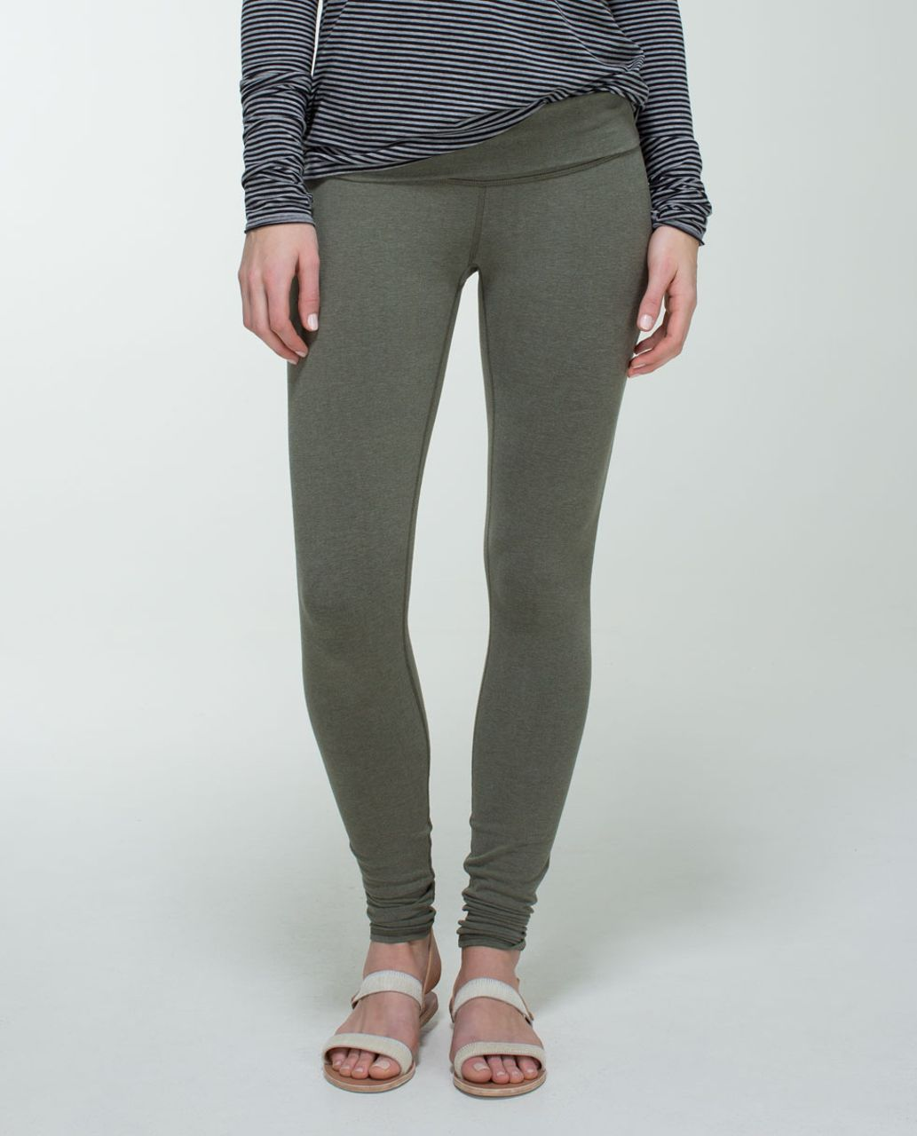 Lululemon Wunder Under Pant (Roll Down) *Cotton - Heathered Fatigue Green