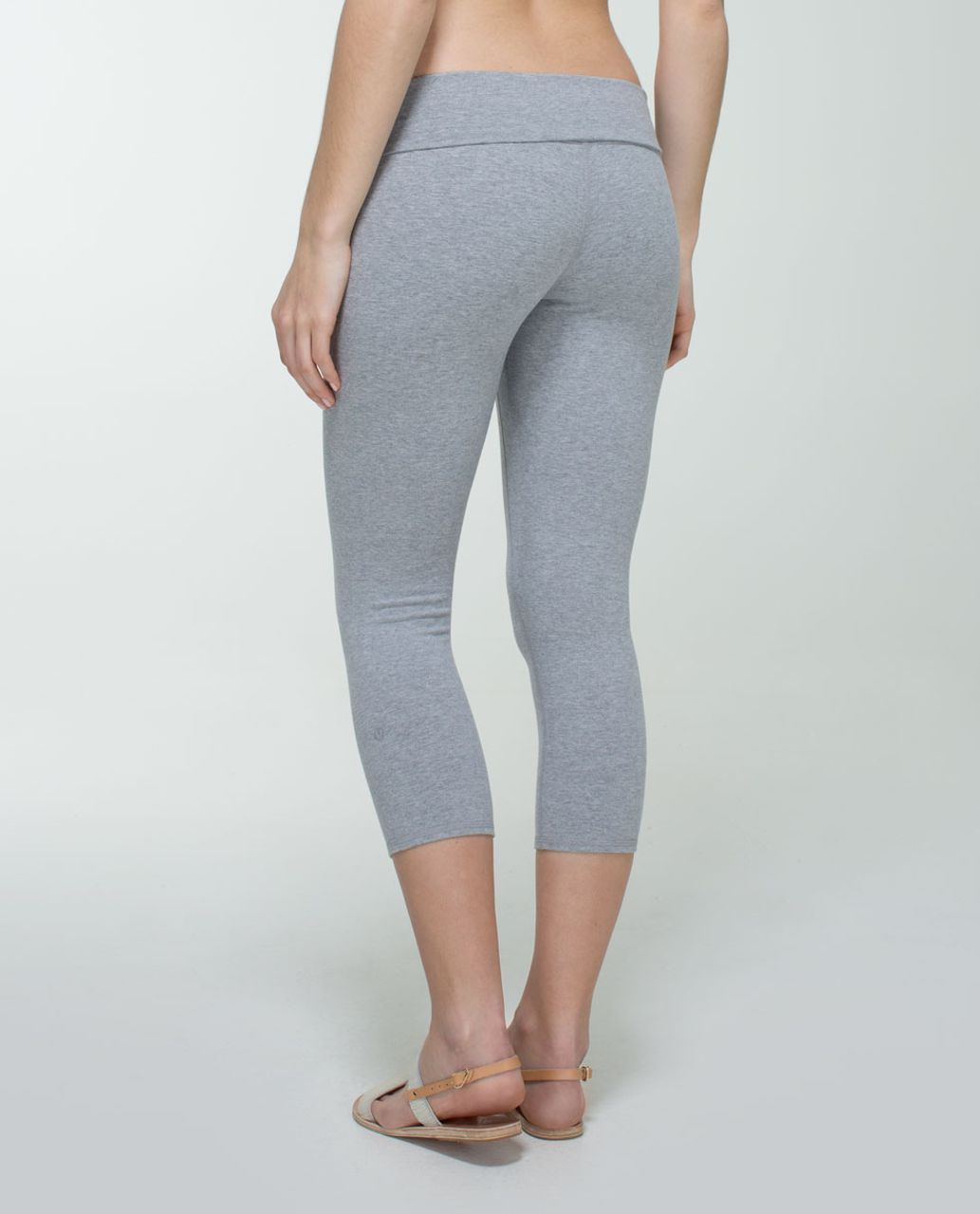 Lululemon Wunder Under Crop (Roll Down) *Cotton - Heathered Medium Grey