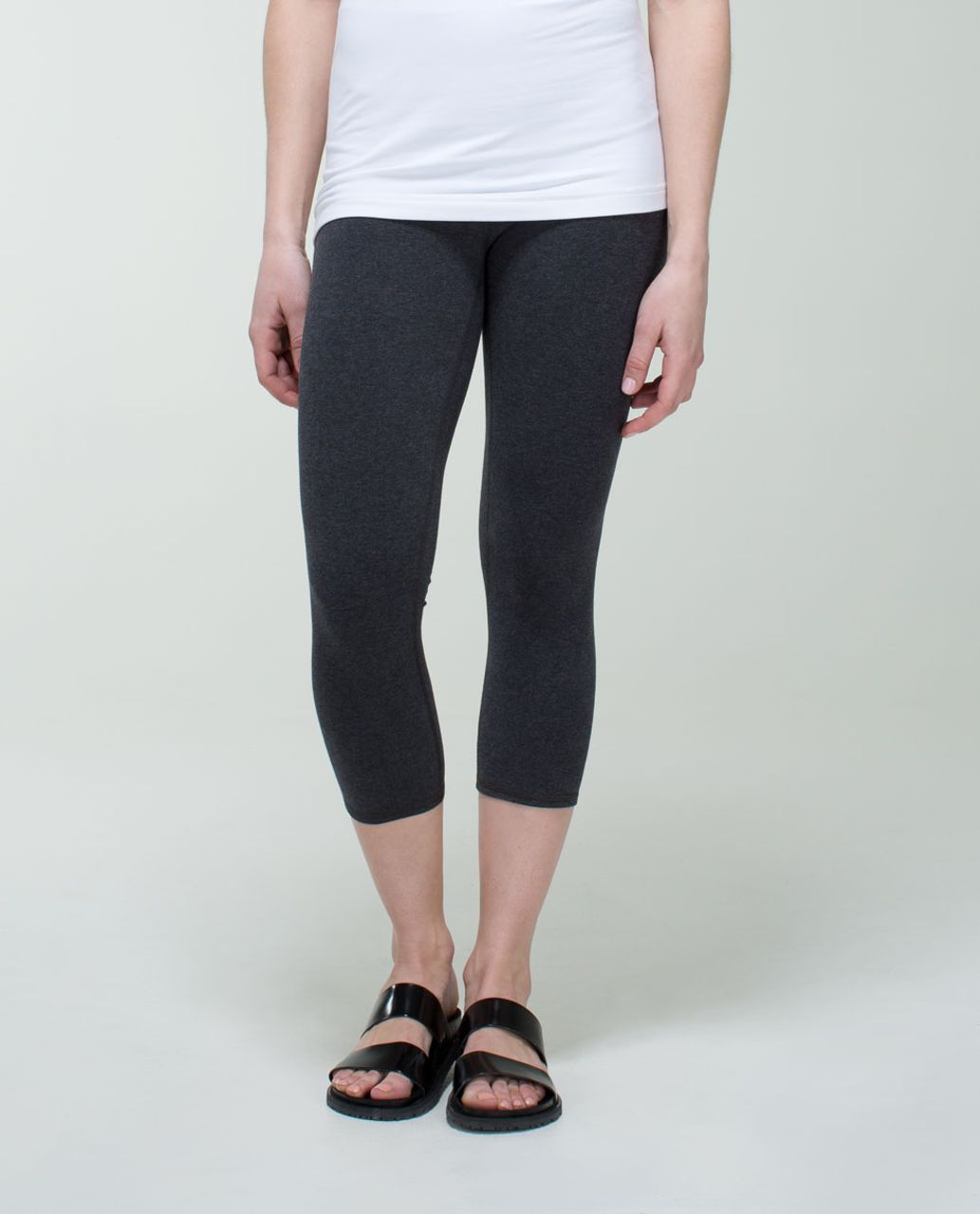 Lululemon Wunder Under Crop (Roll Down) *Cotton - Heathered Black