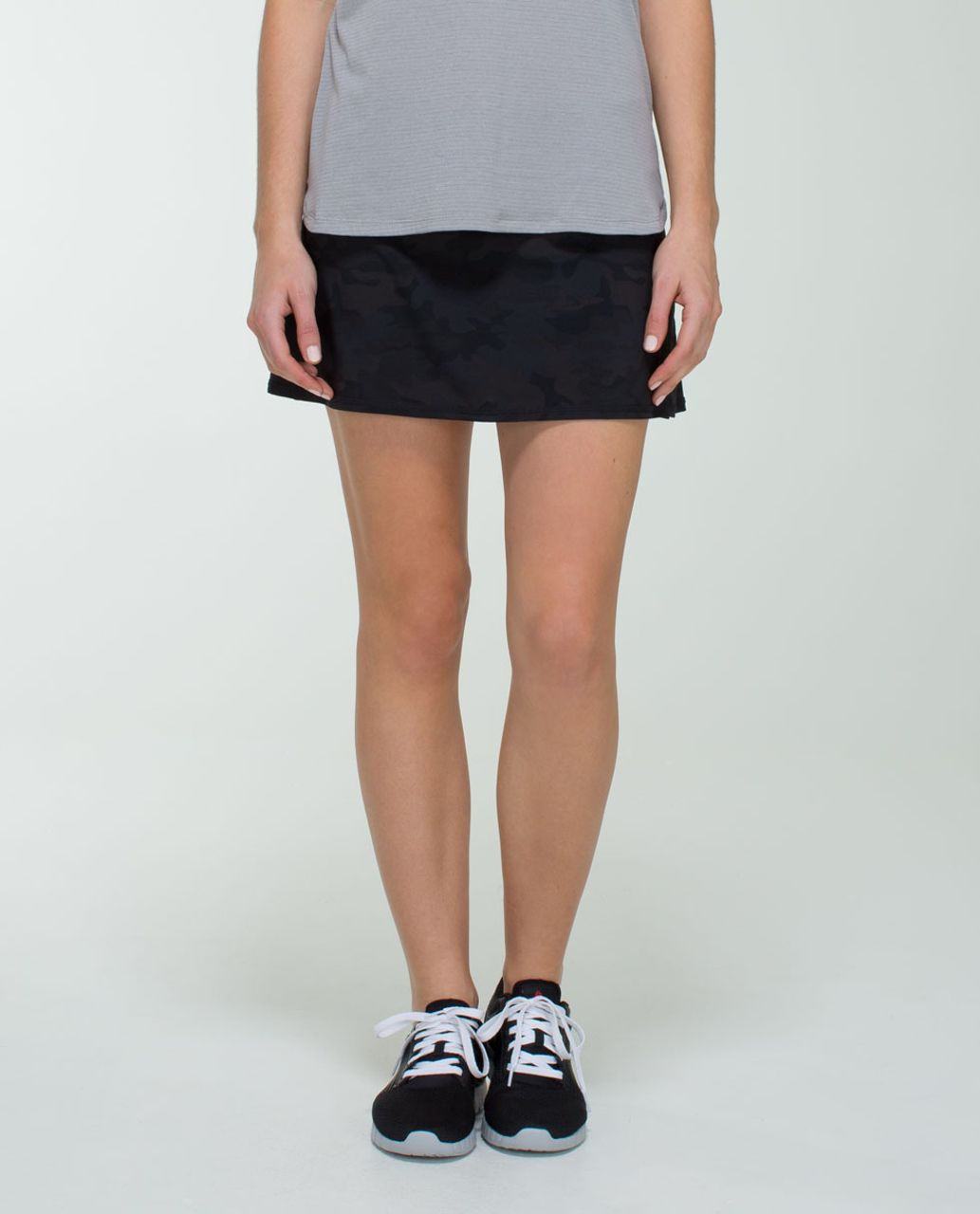 Lululemon Run:  Pace Setter Skirt (Regular) *4-way Stretch - Savasana Camo 20cm New Black / Black
