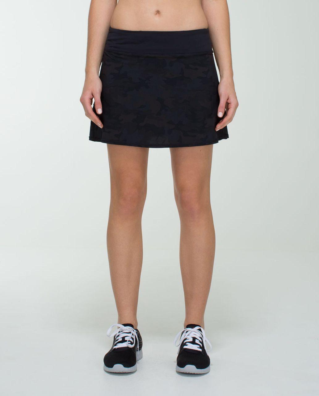 Lululemon Run:  Pace Setter Skirt (Tall) *4-way Stretch - Savasana Camo 20cm New Black / Black