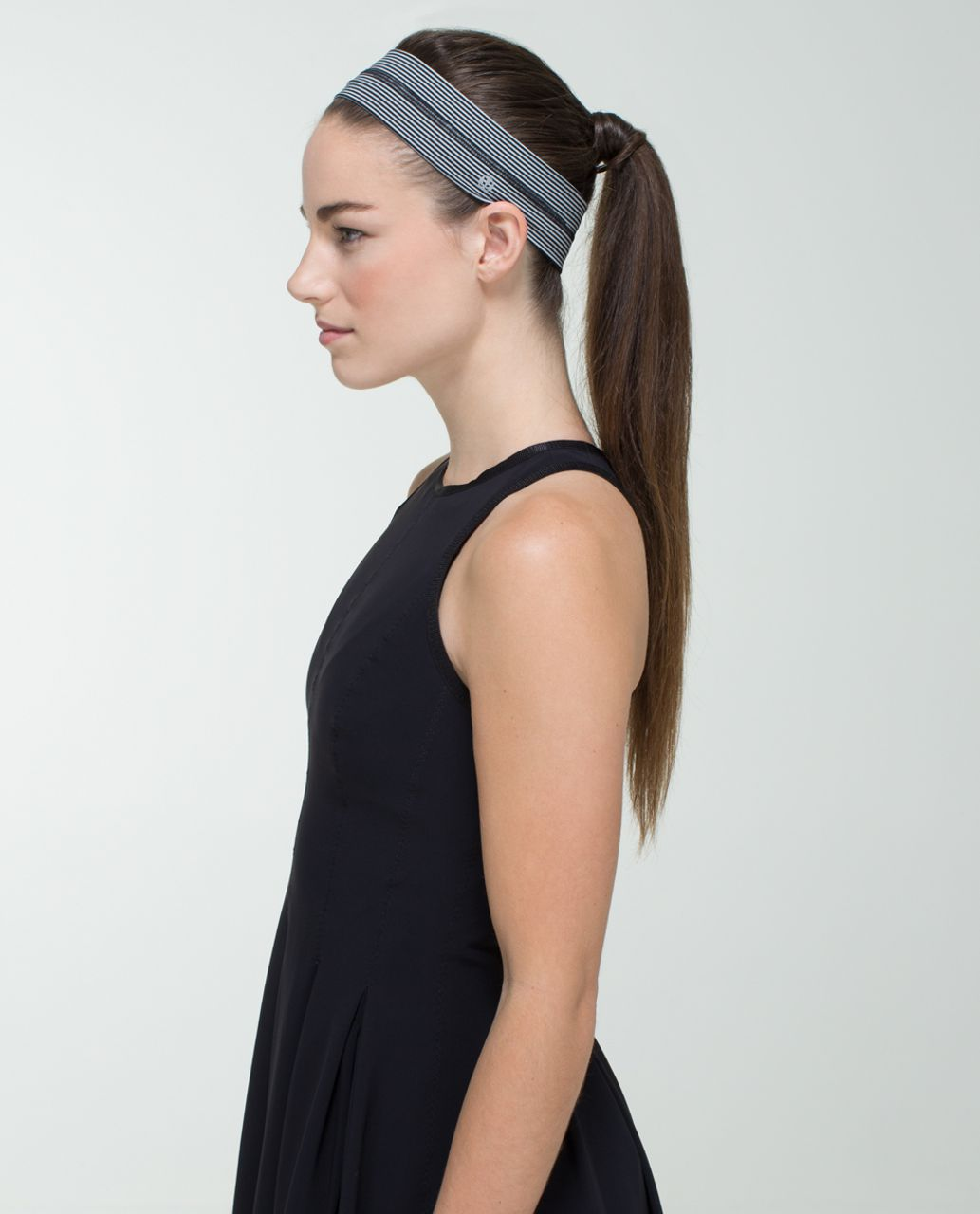 Lululemon Fly Away Tamer Headband - Tonka Stripe Black Heathered Medium Grey