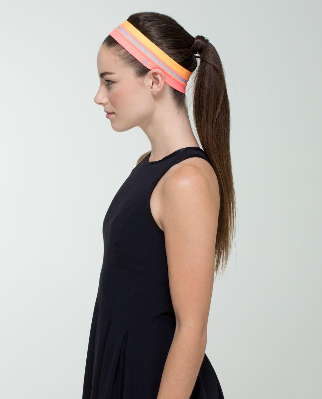 Lululemon Fly Away Tamer Headband *Quilt - Heathered Medium Grey / Creamsicle Pop / Very Light Flare