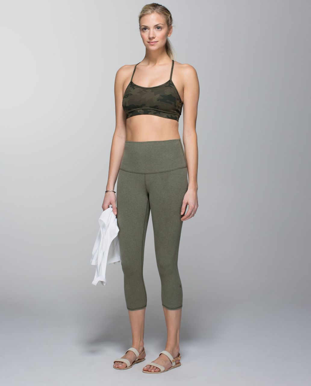 Lululemon Wunder Under Crop (Roll Down) *Cotton - Heathered Fatigue Green