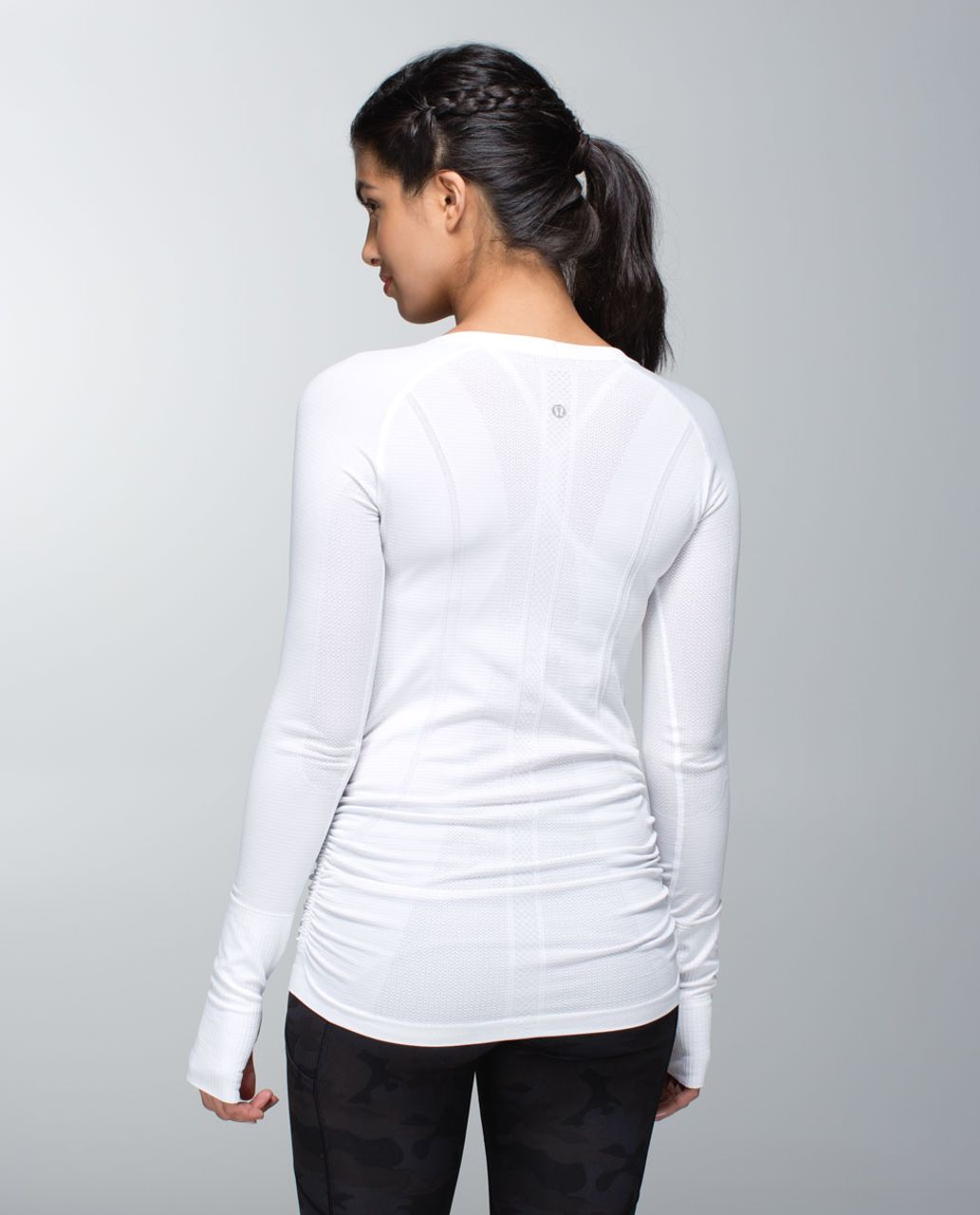 Lululemon Run:  Swiftly Tech Long Sleeve Scoop *Ruched - Heathered White