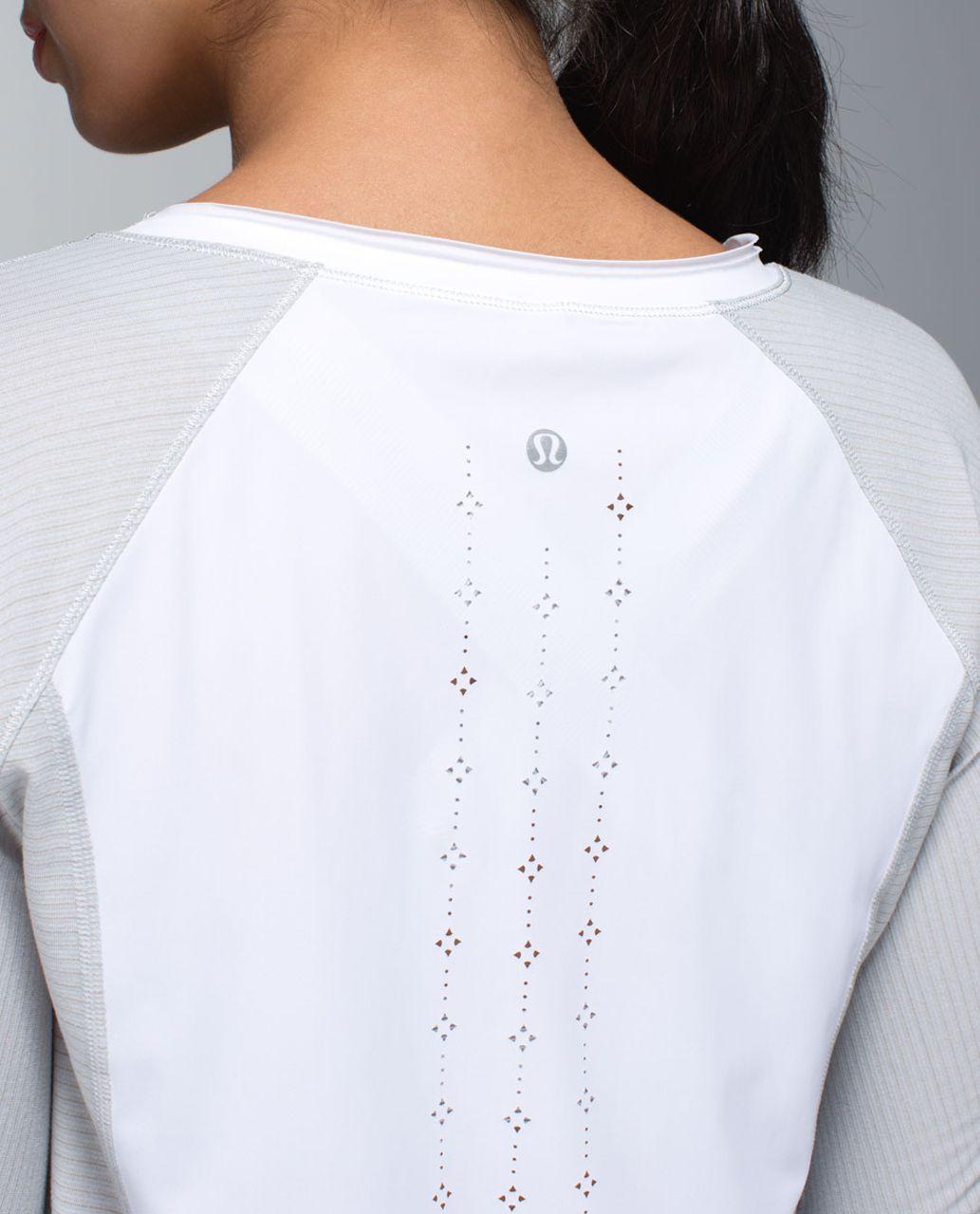 Lululemon Lightened Up Long Sleeve - Heathered Light Grey / White