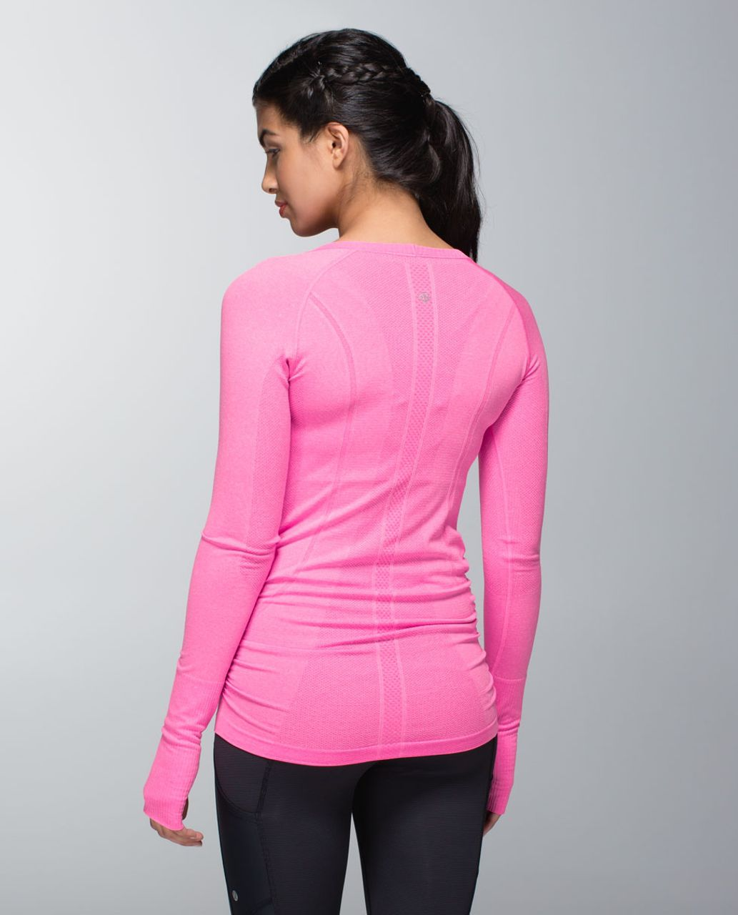 Lululemon Run:  Swiftly Tech Long Sleeve Scoop *Ruched - Heathered Pow Pink Light
