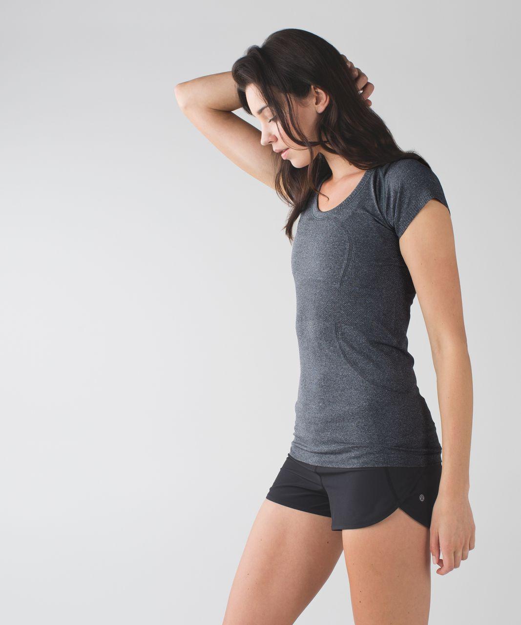 Lululemon Run:  Swiftly Tech Short Sleeve Scoop - Heathered Black