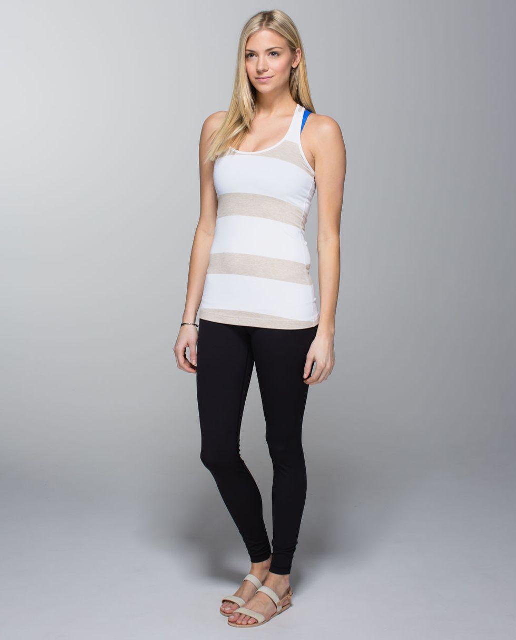 Lululemon Cool Racerback - Stroll Stripe Heathered Cashew White / White