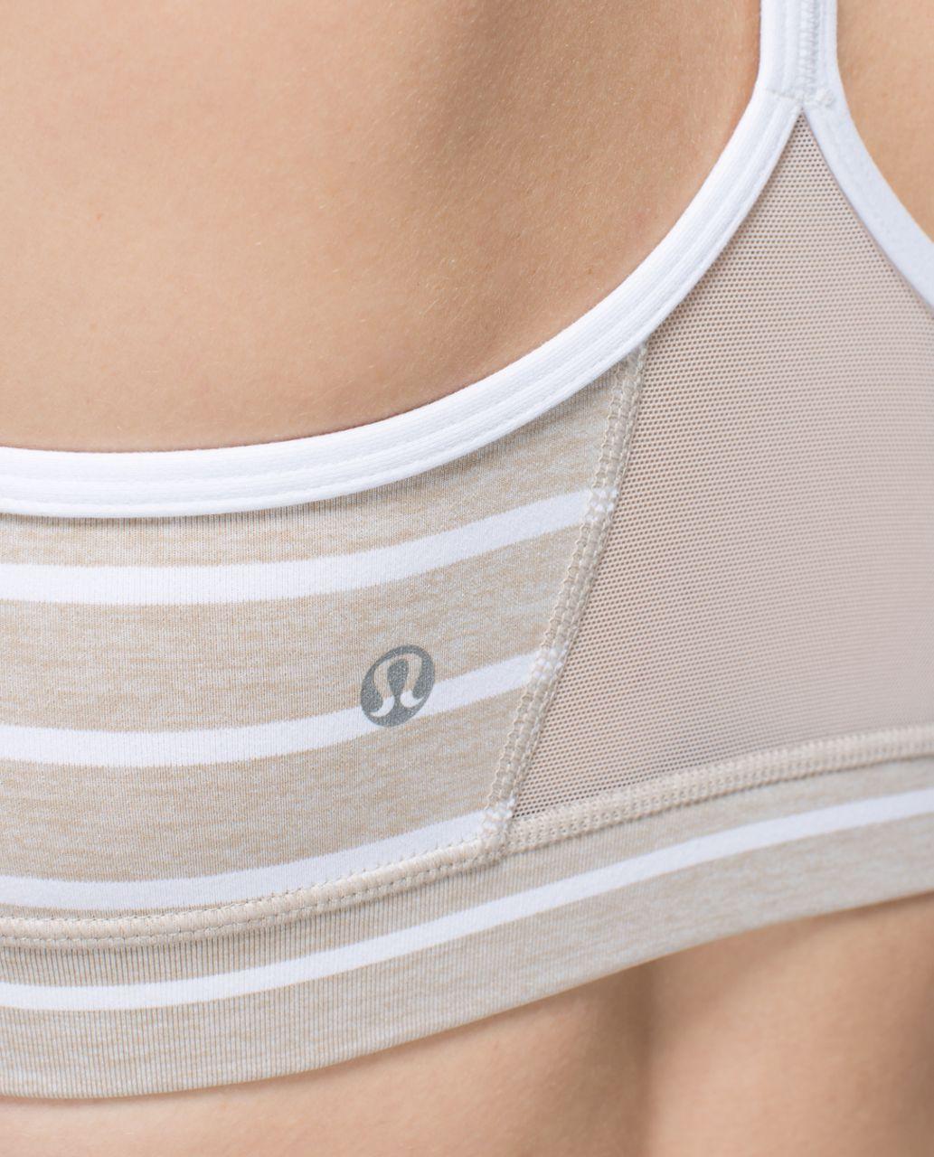 Lululemon Flow Y Bra IV - Deauville Stripe Heathered Cashew White / White / Cashew