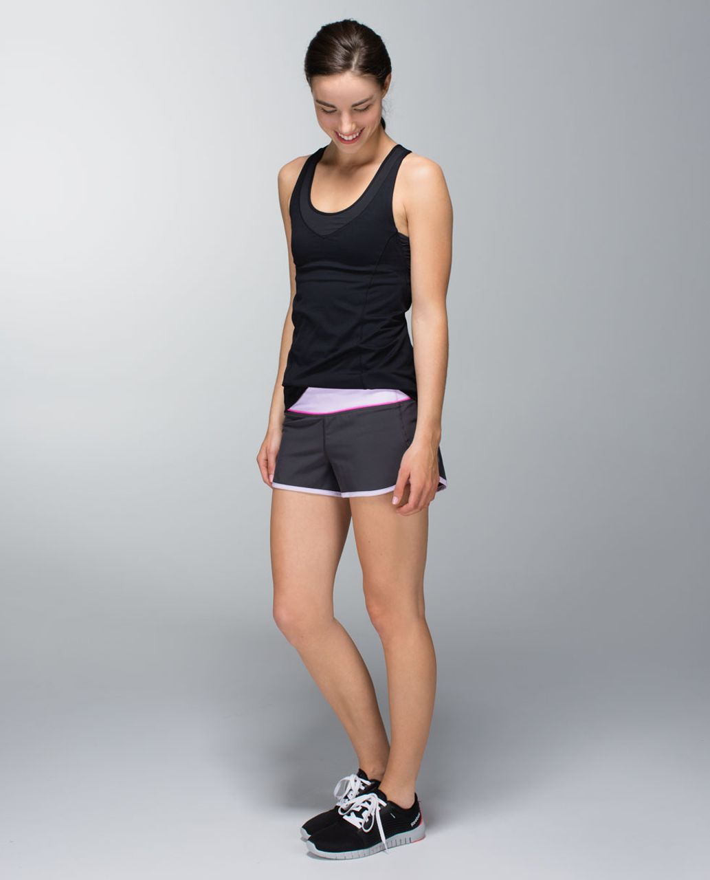 Lululemon Run:  Speed Short *4-way Stretch - Soot / Pretty Purple
