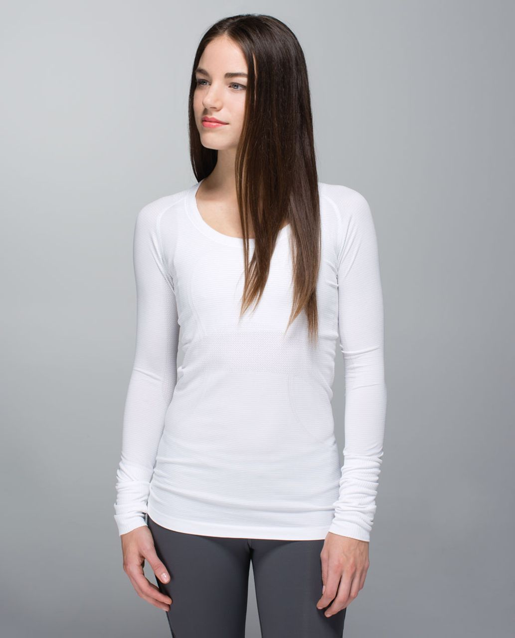 Lululemon Run:  Swiftly Tech Long Sleeve Scoop - Heathered White